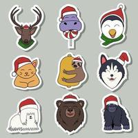 merry christmas animal sticker vector illustration