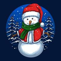 Merry christmas snowman vector illustration