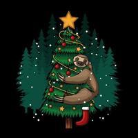 sloth hugging tree merry christmas vector illustration