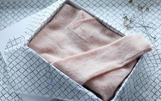 textile things are knitted, cotton folded according to the method of konmari. concept order, comfort, close-up photo
