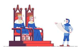 Medieval kingdom rulers on thrones and royal messenger flat vector illustration. King, queen and herald isolated cartoon characters with outline elements on white background. Middle ages