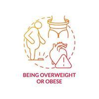 tener sobrepeso y obesidad concepto icono vector