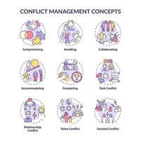 Conflict management concept icons set vector