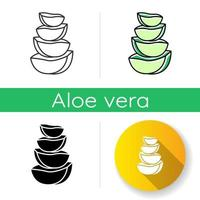 Aloe vera slices icon. Cut cactus pieces. Plant ingredient for cosmetic. Medicinal herbs. Dermatology and skincare. Botany, greenery. Linear black and RGB color styles. Isolated vector illustrations
