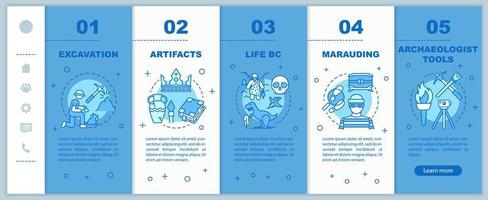 Archeology onboarding mobile web pages vector template. Historical research. Responsive smartphone website interface idea with linear illustrations. Webpage walkthrough step screens. Color concept