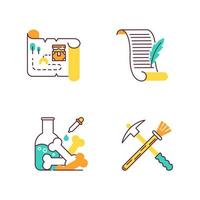 Archeology color icons set. Treasure map. Ancient manuscript. Laboratory research. Restoration equipment. Historical discoveries. Pickaxe and brush. Poetry, letter. Isolated vector illustrations