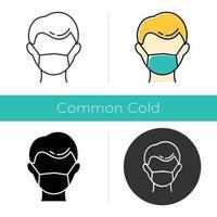 icono de máscara médica desechable. resfriado comun. prevención de la influenza. precaución contra la gripe. enfermedad contagiosa. trabajador médico. cuidado de la salud. diseño plano, estilos lineales y de color. ilustraciones vectoriales aisladas vector