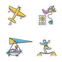 Air extreme sports color icons set. Aerobatics, base jumping, micro lighting and highlining. Outdoor activities. Adrenaline entertainment and risky recreation. Isolated vector illustrations