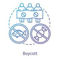 Boycott concept icon. Public demonstration, product abstention, consumer activism idea thin line illustration. Protesters, activists with banner vector isolated outline drawing. Business sanctions