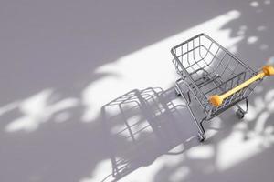 Carrito de la compra pequeño vacío con sombras duras de la naturaleza foto