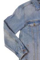 Denim jacket close up on white background photo