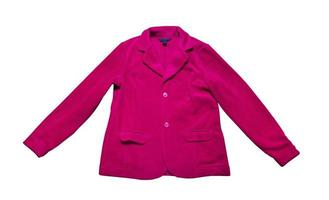 primer plano de la chaqueta de traje rosa de las mujeres, chaqueta de felpa rosa aislada sobre fondo blanco. traje rosa abotonado aislado sobre blanco foto