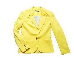 Yellow classic jacket isolated. Women's office classic yellow suit jackets isolated on white background photo