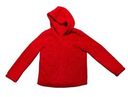 Hoodie sweater isolated on white background, red hoodie mock up, red hoody sweater isolated photo