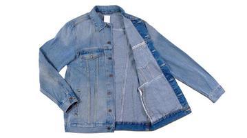 Blue jeans jacket isolated on white background, denim jacket close up, photo