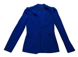 Cerrar traje azul femenino aislado sobre fondo blanco, chaqueta azul closeup foto