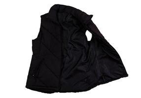 chaleco negro, plantilla en blanco chaleco negro sin mangas con cremallera, vista frontal aislado sobre fondo blanco. maqueta chaleco de deporte de invierno negro. chaqueta de plumas foto