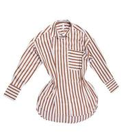 female striped shirt isolated on white background, striped dress. Striped formal female blouse isolated over white photo