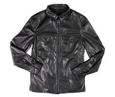 chaqueta de cuero negro aislado sobre fondo blanco. chaqueta de cuero moderna clásica foto