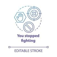 You stopped fighting concept icon. Prohibition of domestic violence. Ban on harassment. Forbid on spousal abuse idea thin line illustration. Vector isolated outline drawing. Editable stroke