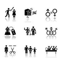Conjunto de iconos de glifos negros de sombra paralela de igualdad de género. Violencia contra la mujer. Estereotipos de genero. precio de la novia. esterilización forzada. derechos políticos. abuso femenino. ilustraciones vectoriales aisladas vector