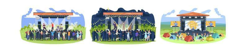 Summer music festival flat vector illustrations set. Rock, jazz, electronic musician concert. Summertime fun outdoor activity. People in open air live performance isolated cartoon characters