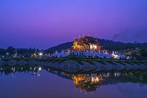 Royal pavilion scene in twilight at Chiang Mai, Thailand photo