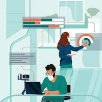 People Back to Work in Futuristic Office Concept vector