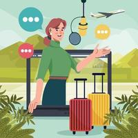 Woman Create Travel Podcast with Laptop vector
