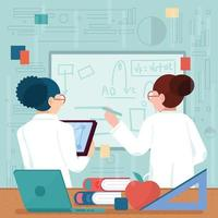 Two Scientists Working in Front of Whiteboard vector