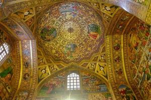 New Julfa Isfahan, Iran, 2016 - Interior of famous ancient architecture. Beautiful ornamented wall and ceiling inside the Vank or Armenian Holy Savior Cathedral. photo