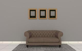 3D Rendered of Interior Modern Living Room with Sofa - Couch and Table Realistic Mockup photo