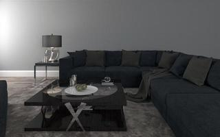 Realistic Mockup of 3D Rendered of Interior of Modern Living Room with Sofa - Couch and Table photo