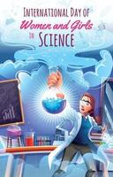 International Day of Women and Girls in Science Concept with Scientist Experimenting in Laboratory vector