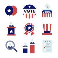 conjunto de iconos del día de las elecciones generales de EE. UU. vector
