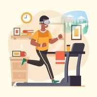 Virtual Reality Workout In Home vector