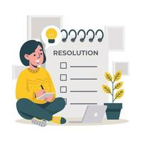 Woman write Resolution For Next Year vector