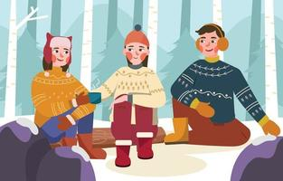 People Wear Ugly Sweaters in Winter vector