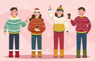 People Wearing Ugly Sweaters vector