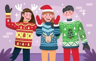 People Wearing Ugly Sweaters Concept vector