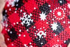 Christmas ornament macro photo close-up details. Christmas mood.