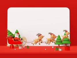 Merry Christmas and Happy New Year, Christmas red scene of Santa Claus on a sleigh full of Christmas gifts and pulled by reindeer, 3d rendering photo