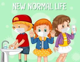 New normal life with children wearing face masks vector