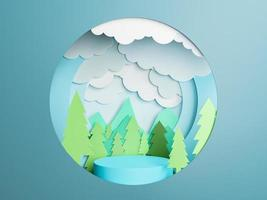 circle with a 3d Paper cut landscape and a cylinder photo