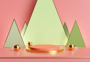 stand for product display with christmas balls and geometric shapes photo