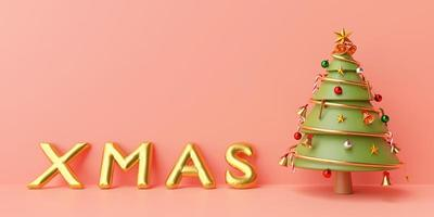 Christmas banner background, Christmas tree with golden XMAS balloon on a pink background, Merry Christmas and Happy New Year, 3d rendering photo