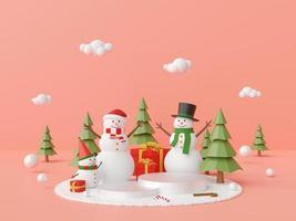 Christmas podium with snowman and Christmas gift photo
