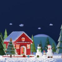 Merry Christmas and Happy New Year, Landscape of Snowman playing snow outside the red house in a pine forest at the midnight, Copy space, 3d rendering photo