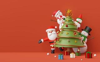 Merry Christmas and Happy New Year, Santa Claus and snowman in a Christmas party with Christmas tree, ornaments on red copy space background, 3d rendering photo