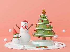 Christmas podium with snowman and Christmas tree photo